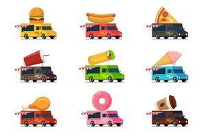 conjunto de camiones de comida rápida. hamburguesa hot dog pizza bebida batido shawarma kebab helado pollo frito donut café en el techo de la camioneta. Ilustración de vector plano de servicio de ruedas de entrega de café callejero