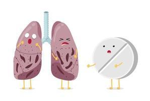 Sick unhealthy cartoon lungs character tuberculosis virus disease with antibiotic drug pharmacy tablet. Human respiratory system internal organ tubercle bacillus pneumonia struck vector illusrtation