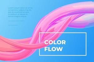 Modern colorful fluid flow poster. Wave liquid shape in blue color background. Art design for design project. Vector gradient stroke illustration