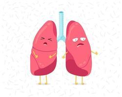 Cartoon lung character afraid dust or dangerous viral infections. Human internal organ prevents sick pneumonia tuberculosis airborne droplet. Medical warning disease protection vector eps illusrtation