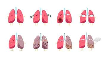 Sad sick unhealthy and healthy strong happy smiling cute lung character set. Human anatomy respiratory system internal organ funny cartoon collection. Vector mascot illustration