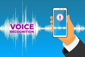 Personal assistant and voice recognition mobile app. Hand holds smartphone device with microphone button on screen and speech sound wave. Soundwave intelligent technologies vector illustration