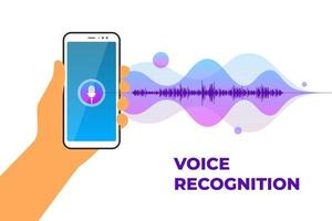 Personal assistant and voice recognition mobile app. Hand holds smartphone with microphone button on screen and gradient sound wave. Soundwave intelligent smart technologies vector illustration
