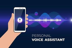 Personal assistant and voice recognition mobile app. Hand holds smartphone with microphone button on screen and gradient sound wave. Soundwave intelligence smart technology vector ai illustration
