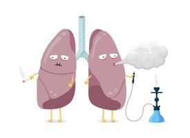 Unhealthy sick lungs cartoon character smoking cigarette and hookah. Human respiratory system internal organ blows smoke and having poor health. Bad dangerous habit addiction vector illustration