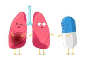 Unhealthy illness and strong healthy lungs character with smiling pill drug. Suffering sick cartoon pneumonia lung mascot and antibiotic capsule. Human respiratory internal organ vector illustration