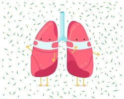 Cartoon lung character with breathing hygiene face mask and viruses infection around. Human internal organ prevents sick pneumonia tuberculosis airborne droplet. Medical protection vector illustration