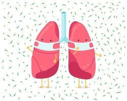 Personaje de pulmón de dibujos animados con mascarilla de higiene respiratoria e infección de virus alrededor. Órgano interno humano previene la neumonía enferma tuberculosis gota en el aire. Ilustración de vector de protección médica