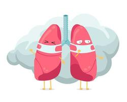 Cartoon lungs character with breathing hygiene mask on face and smoke or dust cloud. Human respiratory system lung internal organ mascot. Medical anatomy air pollution protection vector illustration