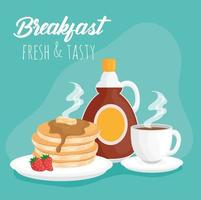 Breakfast pancakes with syrup bottle and coffee cup vector design