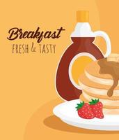 Breakfast pancakes with syrup bottle vector design