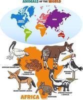 Ilustración educativa con mapa de continentes y animales africanos vector