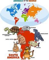 educational illustration of cartoon South American animals vector