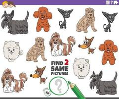 find two same cartoon purebred dogs educational game vector