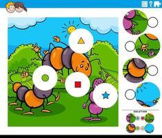 Combina la tarea de piezas con una oruga de dibujos animados y una hormiga. vector