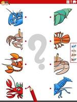 match halves of pictures with cartoon animals educational task vector