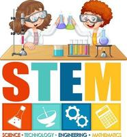 Scientist kids cartoon character with STEM education logo vector