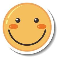 A sticker template with smile face emoji isolated vector