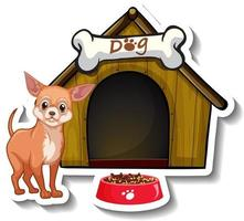 Sticker design with chihuahua standing in front of dog house vector