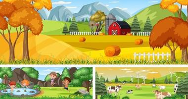 Outdoor panoramic landscape scenes set with cartoon character vector