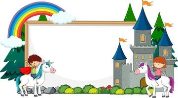 Empty banner with fairy tale cartoon character and elements isolated vector