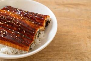 Japanese eel grilled with rice bowl or Unagi don photo