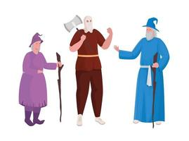 Fairytale executioner witch and magician cartoon vector design