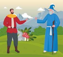 Fairytale magician and prince cartoon on landscape vector design