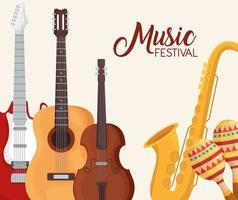 Music festival instruments symbol set vector design