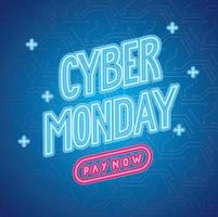 cyber monday neon lettering label vector