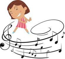Cartoon character of a dancer girl with musical melody symbols vector