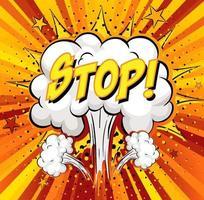 Detener el texto en la explosión de la nube cómica sobre fondo de rayos vector