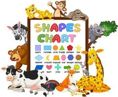 Shapes chart board with wild animals vector