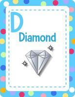 flashcard del alfabeto con la letra d para diamante vector