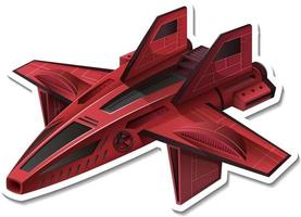 A sticker template with a fighter aircraft isolated vector