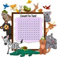 Counting number 1-100 board with wild animals vector
