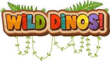 Wild Dinos Font Banner on white background vector