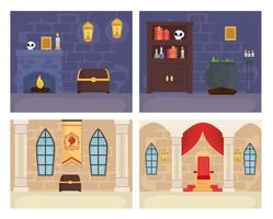 Fairytale king and magician rooms set vector design