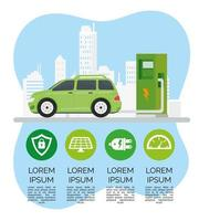 green electric car ecology alternative in chargin station and set icons vector