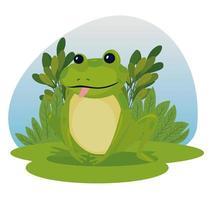 Dibujos animados de rana con diseño de vector de hojas