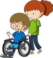 Doodle cartoon character of a boy sitting on a wheelchair vector