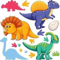 Set of isolated various dinosaurs cartoon character on white background vector