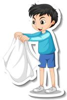 Sticker design with a boy take off his coat isolated vector
