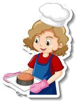 Sticker design with baker girl holding baked tray vector