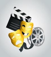 máscaras de tablillas de cine y diseño vectorial de carretes vector