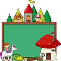 Empty chalkboard banner with fairy tale cartoon character and elements isolated vector