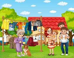 Happy family standing outside home with clothesline vector