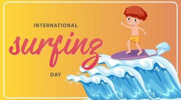 International Surfing Day banner with a boy surfer cartoon character vector