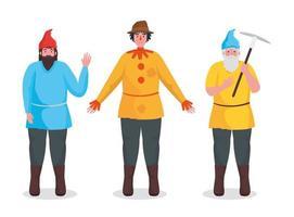 Fairytale dwarfs and scarecrow cartoon vector design