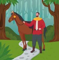 dibujos animados de príncipe de cuento de hadas con caballo en el diseño del vector del bosque